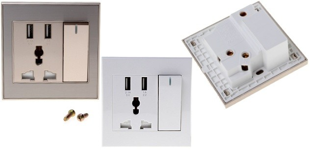USB 2-Port Wall Socket Panel