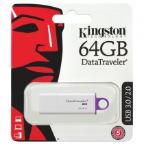 Kingston Digital 64GB Data Traveler 3.0 USB Flash Drive - Purple