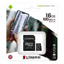 Kingston Canvas Select Plus MicroSD 100MBs Class 10 16GB  (With SD Card Adapter)