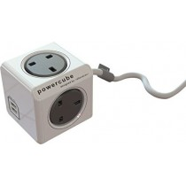 4 Way PowerCube Socket with 2 USB Ports + 3M Cable (Grey)