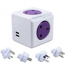 Allocacoc PowerCube 5 Socket Rewirable with 2 USB Ports Travel Adapter Purple