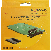 Delock Converter SATA 22 pin > mSATA with 2.5″ Frame