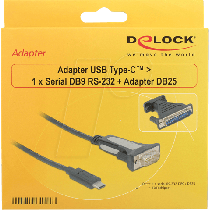 Delock Adapter USB Type-C™ > 1 x Serial DB9 RS-232 + Adapter DB25