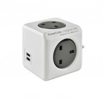 4 Way PowerCube Grey Socket with 2 USB Ports